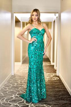 Style 8824 Vienna Green Size 6 Train Sweetheart Pattern Straight Dress on Queenly