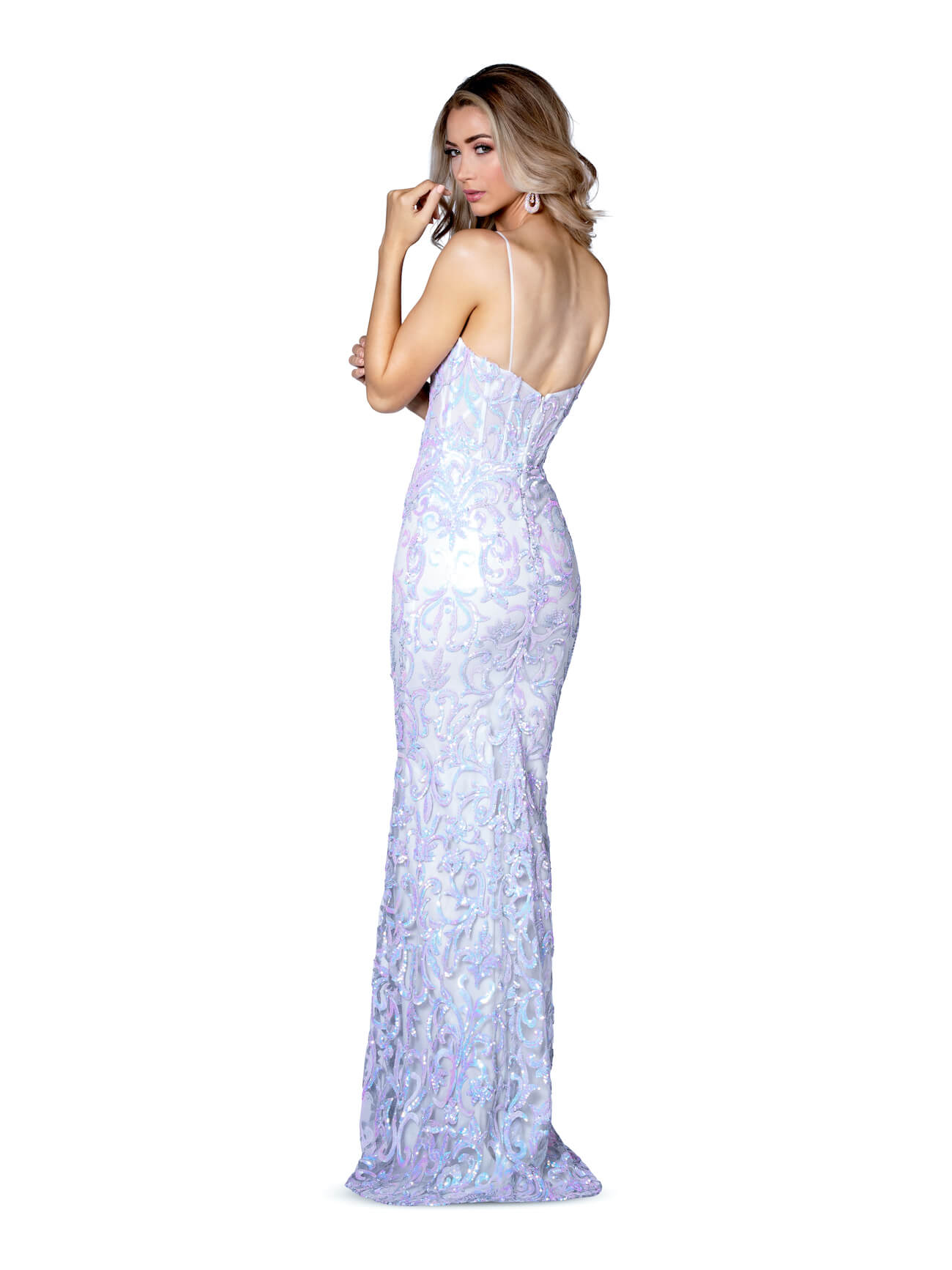 Vienna Blue Size 2 Train Shiny Straight Dress on Queenly