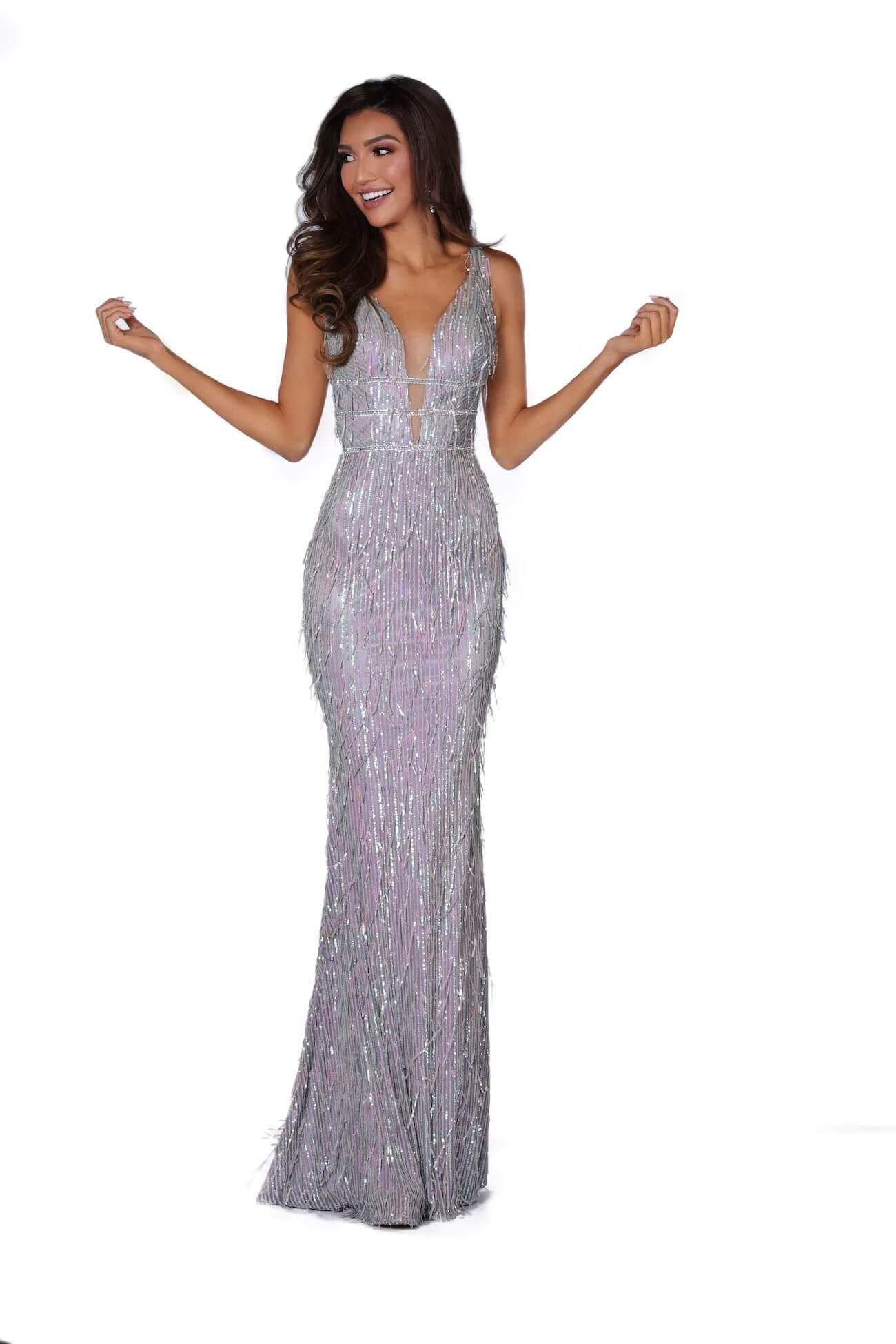 Vienna Silver Size 0 Plunge Mermaid Dress on Queenly