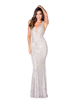 Vienna Gold Size 0 Plunge Backless Mermaid Dress on Queenly