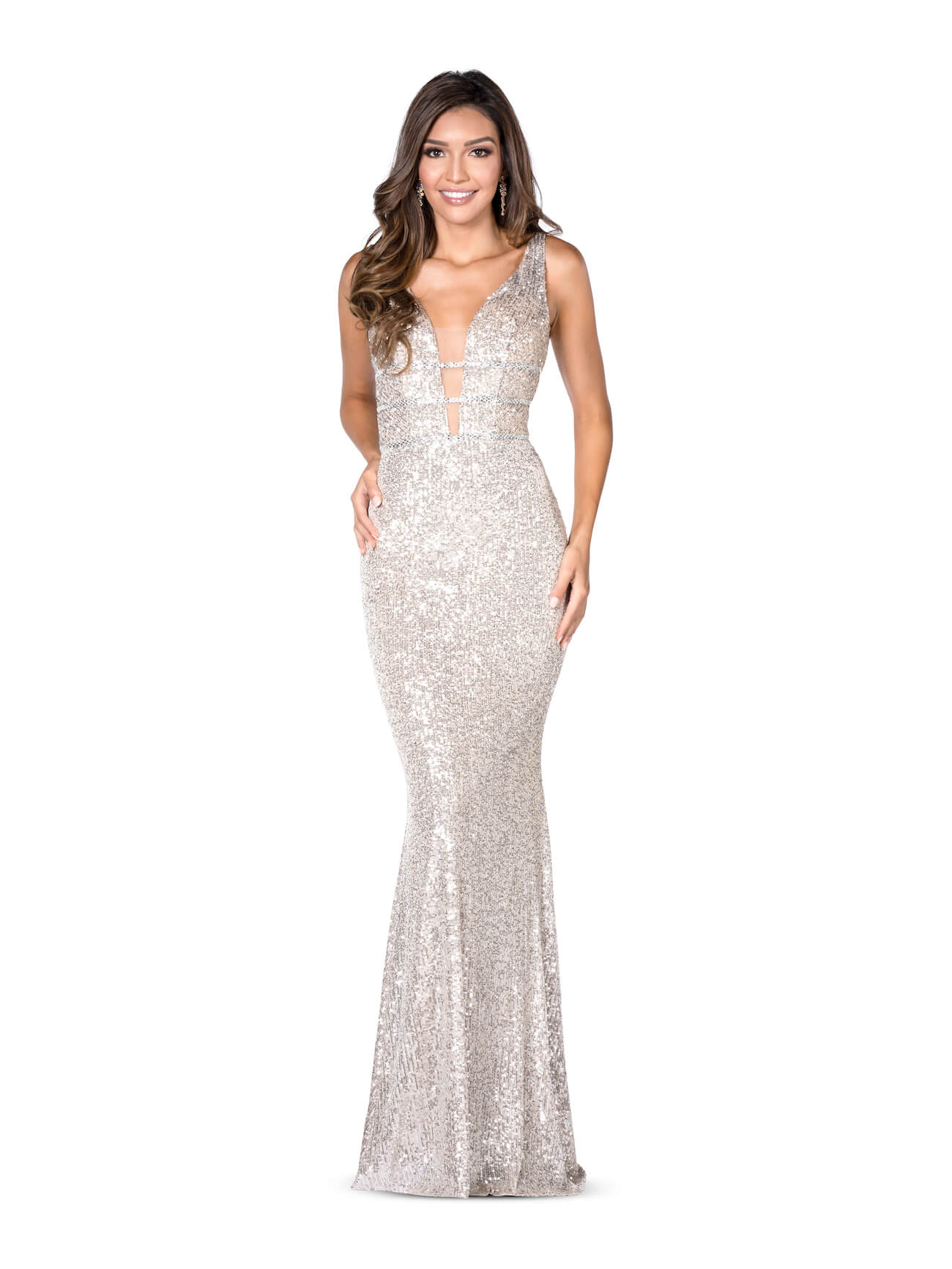 Vienna Gold Size 10 Plunge Backless Mermaid Dress on Queenly