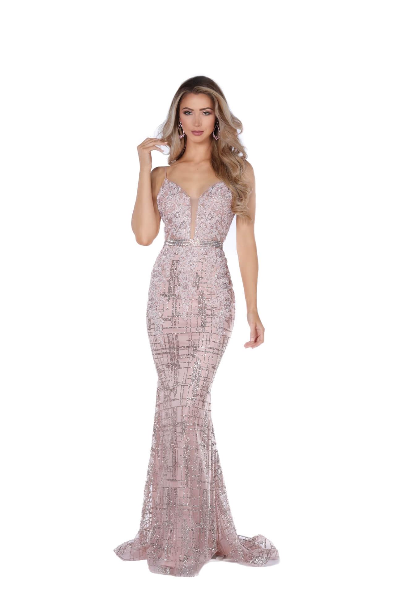 Vienna Pink Size 00 Plunge Pattern Rose Gold Mermaid Dress on Queenly