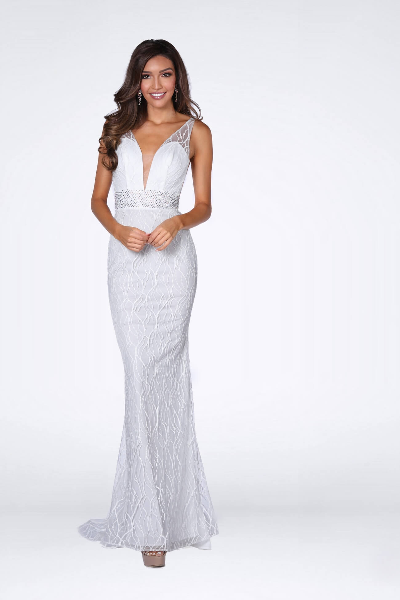Vienna White Size 2 Plunge Lace Mermaid Dress on Queenly