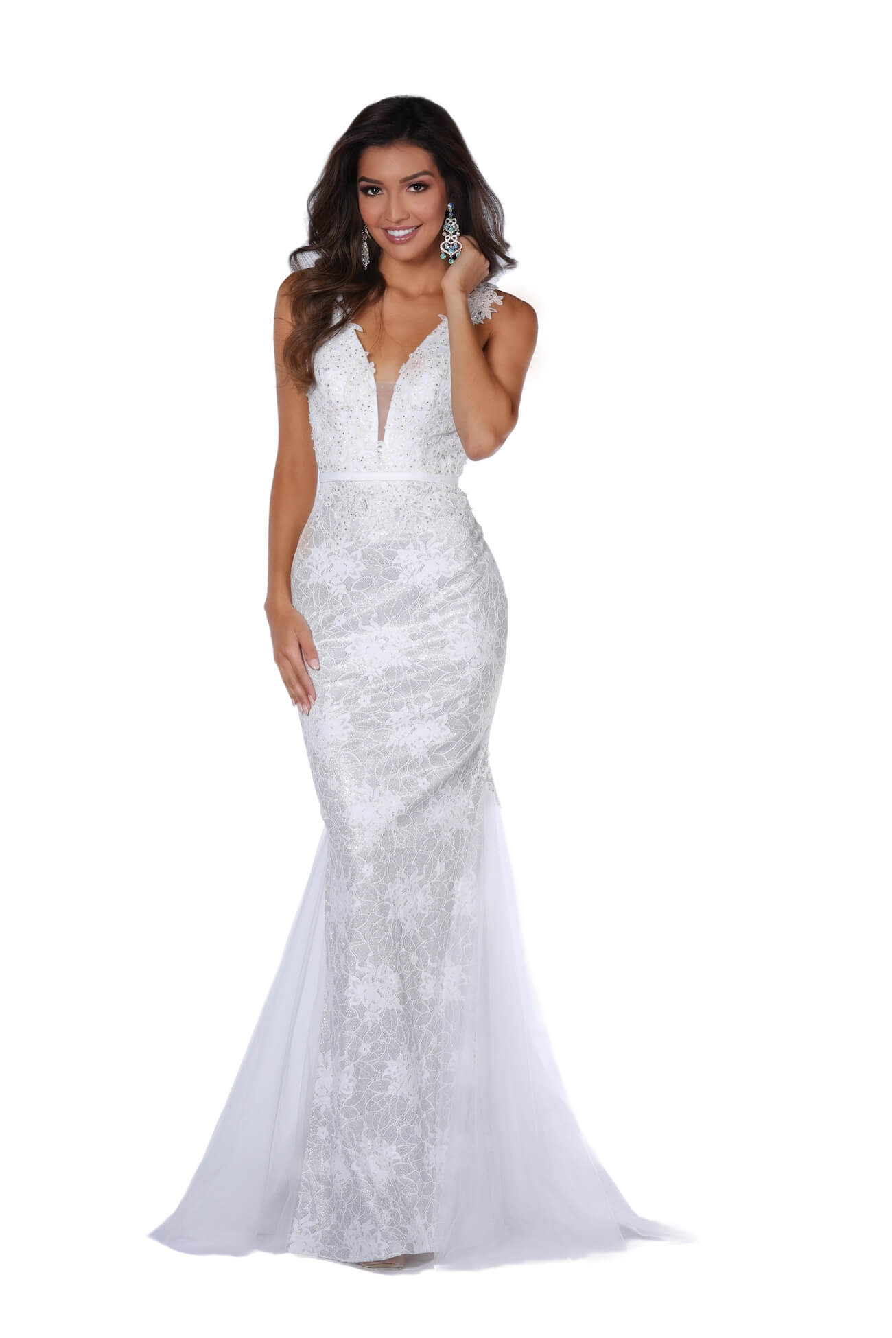 Style 8909 Vienna White Size 6 Prom Lace Mermaid Dress on Queenly