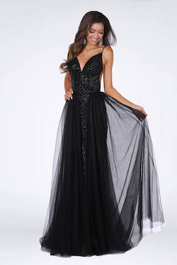 Style 8910 Vienna Black Size 8 A-line Overskirt Train Dress on Queenly