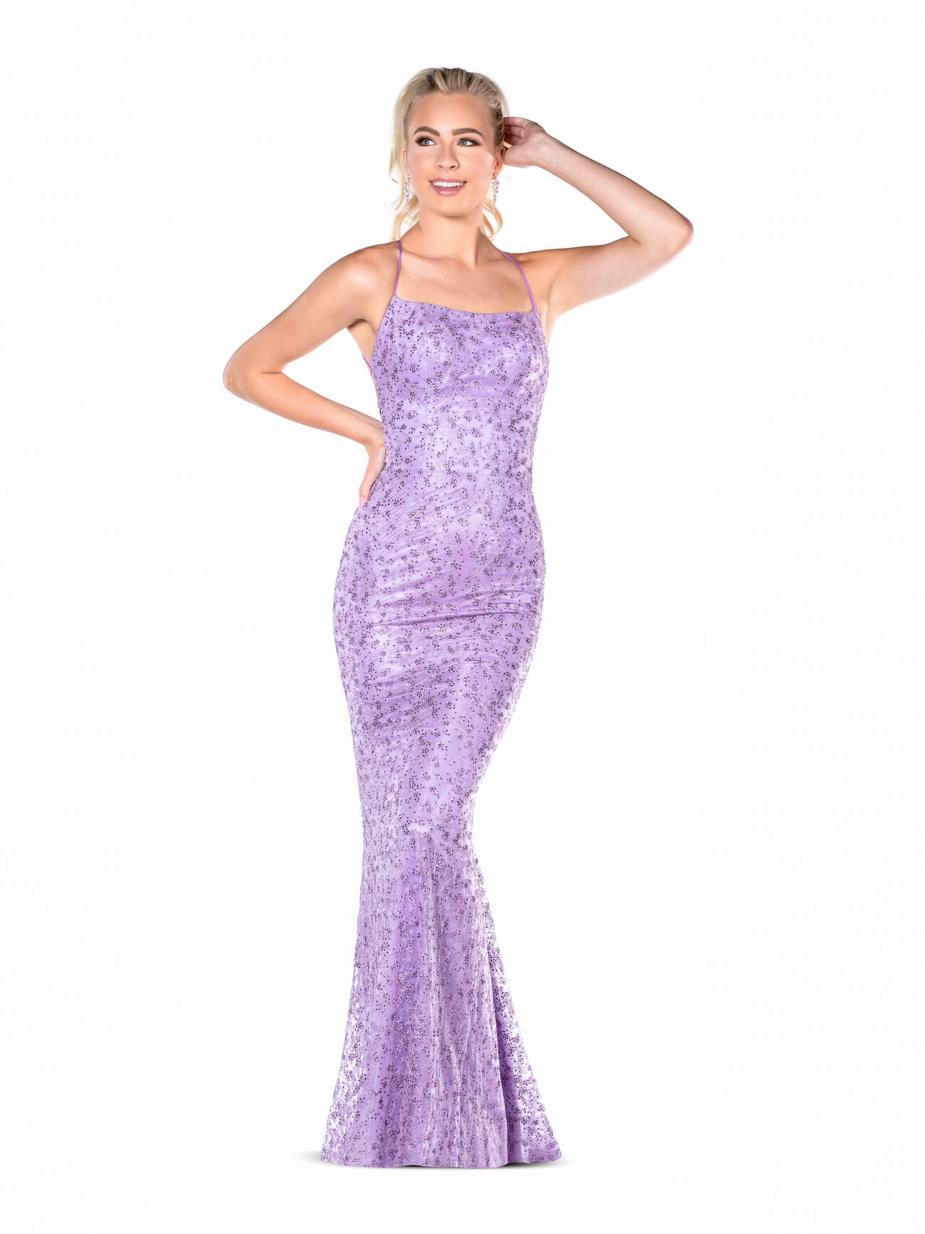 Vienna Purple Size 6 Lavender Light Blue Backless Straight Dress on Queenly