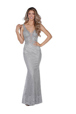 Vienna Silver Size 4 Red Backless Mermaid Dress on Queenly