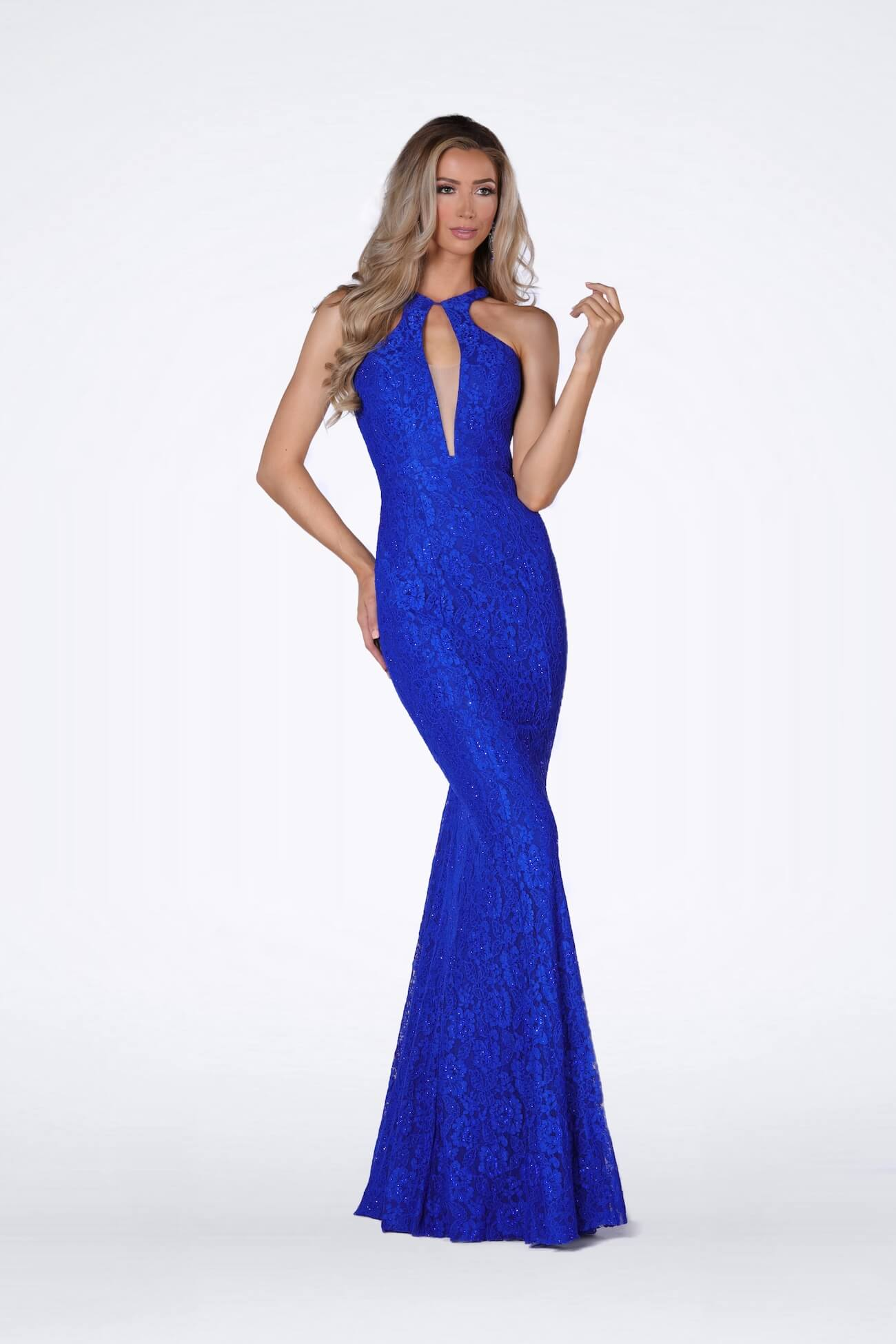 Vienna Blue Size 4 Lace Backless Mermaid Dress on Queenly