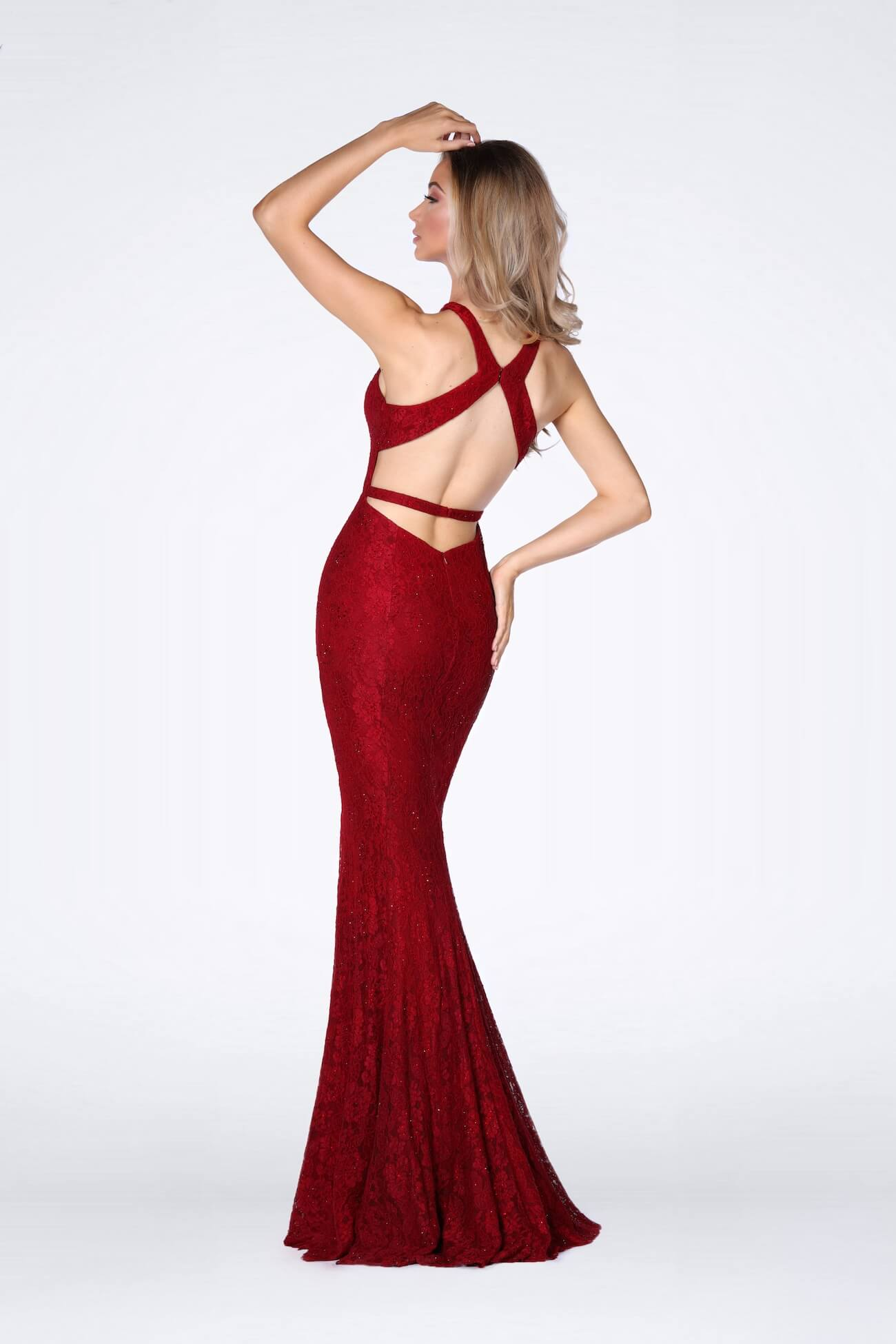 Vienna Red Size 4 Halter Backless Mermaid Dress on Queenly