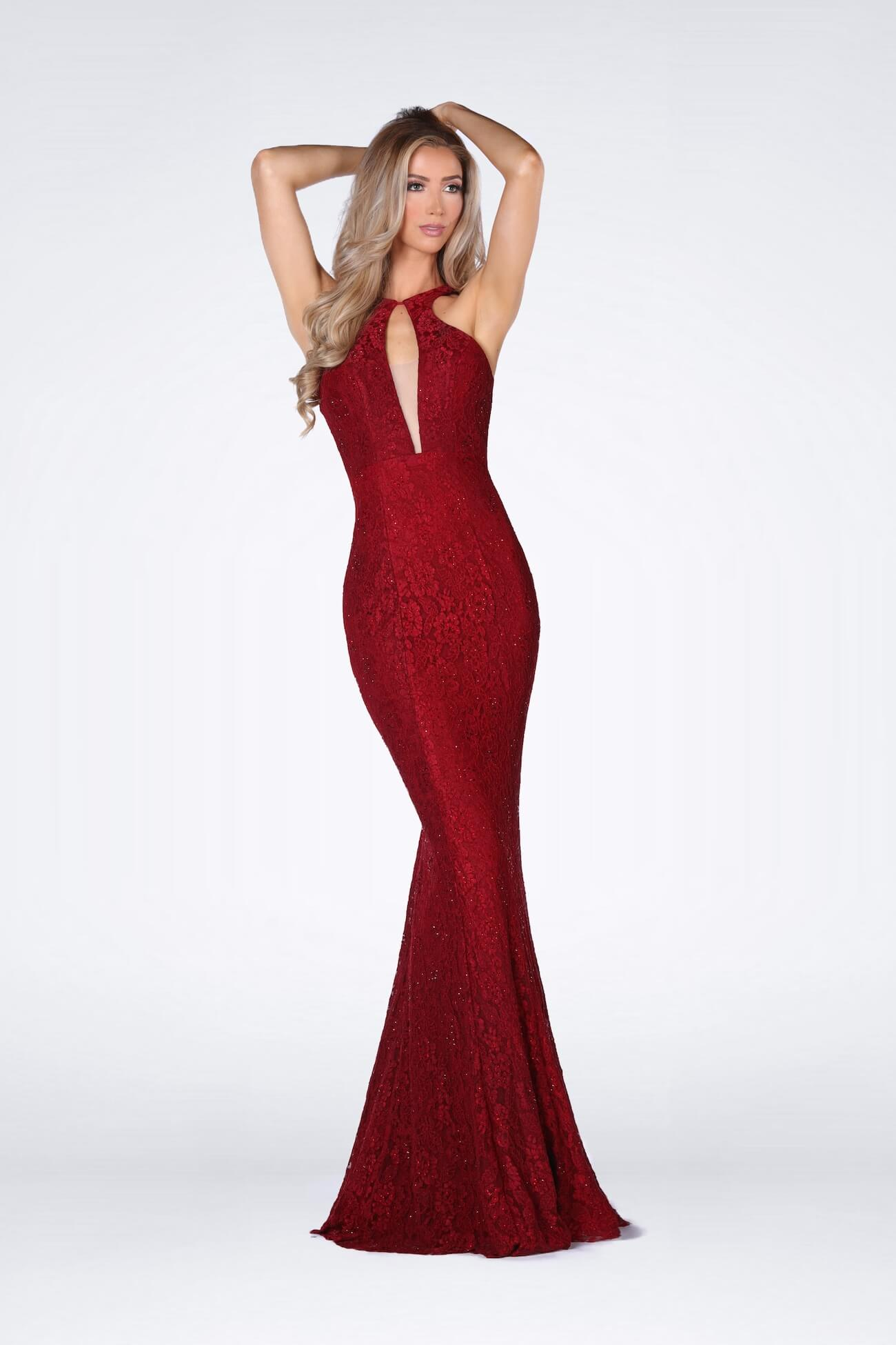 Vienna Red Size 6 Floral Halter Backless Mermaid Dress on Queenly