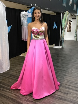 Jovani Pink Size 2 Jewelled Ball gown on Queenly
