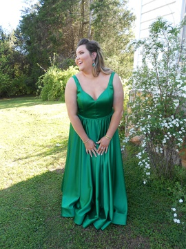 Queenly size 20 La Femme Green A-line evening gown/formal dress