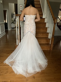 Sherri Hill White Size 6 Strapless Floral Train Dress on Queenly