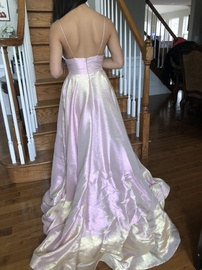 Ashley Lauren Pink Size 2 Plunge Shiny Ball gown on Queenly