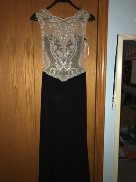 Dave & Johnny Black Size 6 Sheer Cut Out Plunge Straight Dress on Queenly