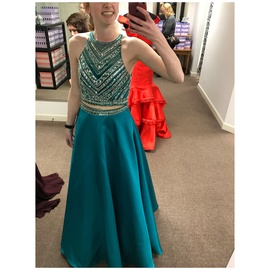 Queenly size 4  Green A-line evening gown/formal dress