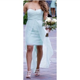 David's Bridal Blue Size 2 Teal High Low Strapless Train Dress on Queenly