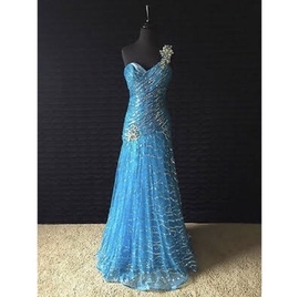 Tony Bowls Blue Size 0 One Shoulder Prom Mermaid Dress on Queenly