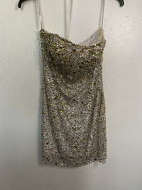 Sherri Hill Silver Size 2 Strapless Mini Cocktail Dress on Queenly