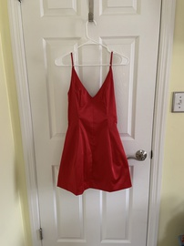 BCBG Red Size 6 Plunge Homecoming Cocktail Dress on Queenly