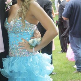 Sherri Hill Blue Size 4 Jewelled Sweetheart Ball gown on Queenly