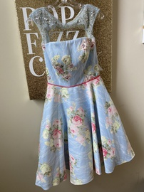 Angela and Alison Blue Size 6 Homecoming Flare Cocktail Dress on Queenly