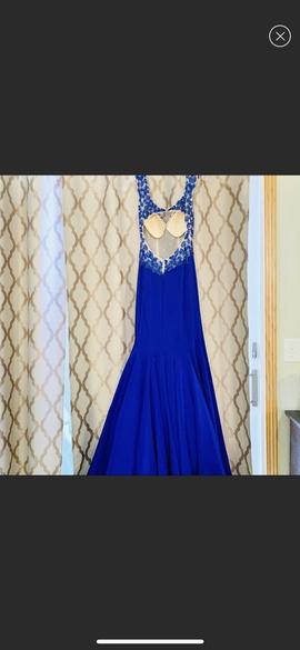 Sherri Hill Blue Size 2 Sheer Train Nude Mermaid Dress on Queenly