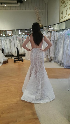 Terani Couture White Size 0 Wedding Plunge Mermaid Dress on Queenly