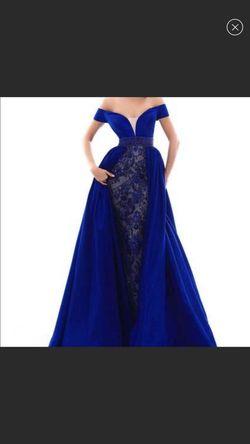 Tarik Ediz Blue Size 0 Train Ball gown on Queenly