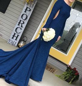 Jovani Blue Size 8 Mermaid Dress on Queenly