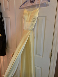 Sherri Hill Yellow Size 6 Prom Red Lace Side slit Dress on Queenly