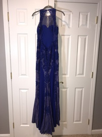 Jovani Blue Size 6 Prom Train Dress on Queenly