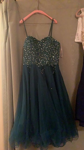 Queenly size 4 JJs house Green Straight evening gown/formal dress