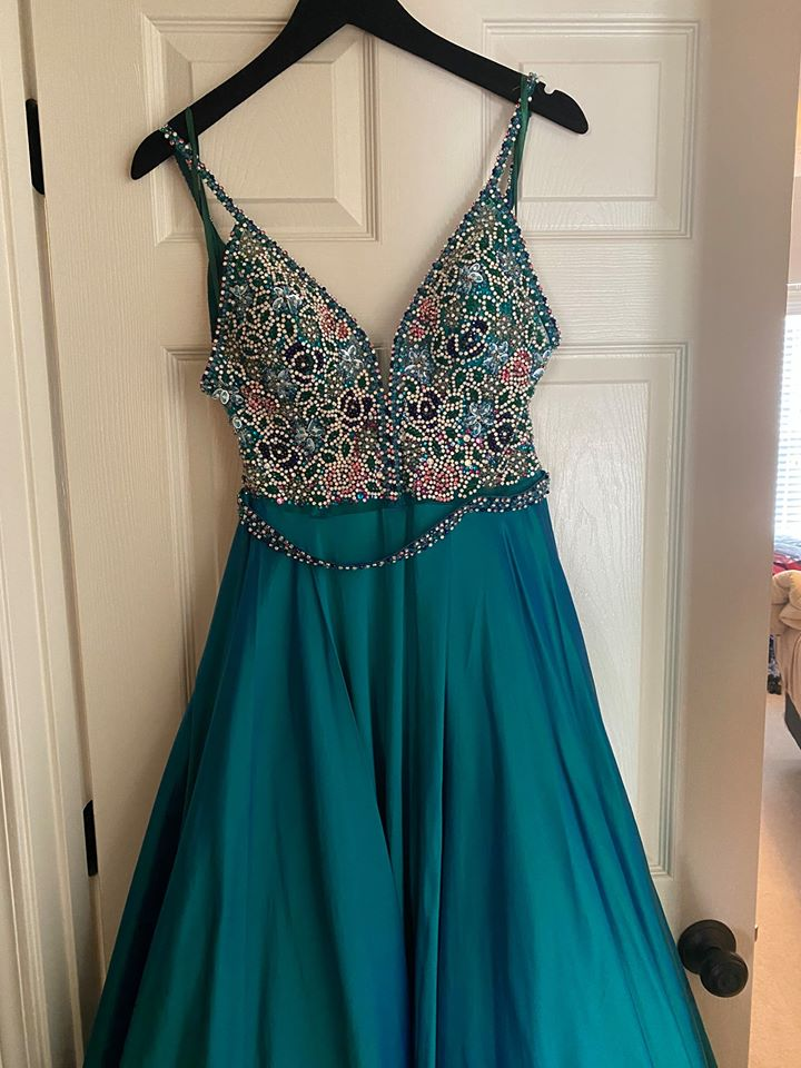 Jovani Green Size 4 Sheer Medium Height Ball gown on Queenly