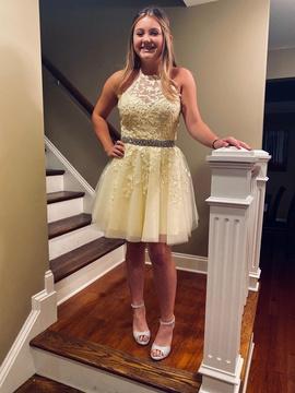 Sherri Hill Yellow Size 8 Halter Belt A-line Dress on Queenly