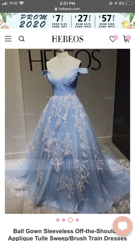 Hebeos Blue Size 6 Ball gown on Queenly