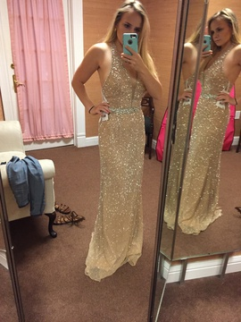 Sherri Hill Gold Size 4 Short Height Straight Dress on Queenly