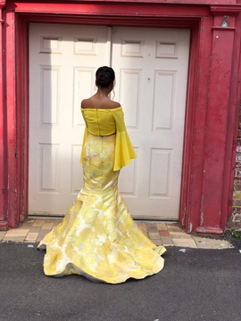 Jovani Yellow Size 0 Two Piece Bell Sleeves Mermaid Dress on Queenly