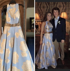 Jovani Blue Size 4 Ball gown on Queenly