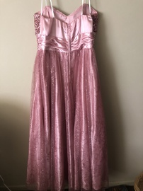 de Pink Size 14 Sweetheart Prom Pageant Strapless Ball gown on Queenly