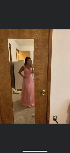 La Femme Pink Size 4 Plunge Ball gown on Queenly