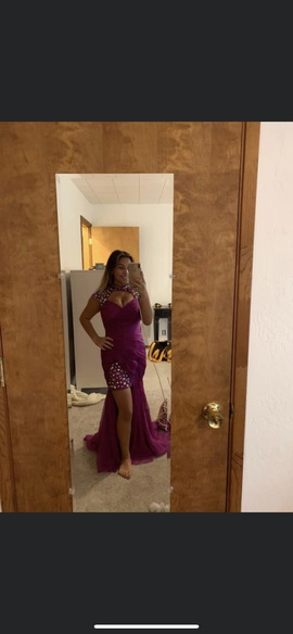 Cassandra Stone Purple Size 6 Side Slit Sequin Cocktail Dress on Queenly