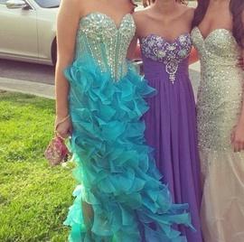 Sherri Hill Blue Size 8 Ruffles Medium Height Straight Dress on Queenly
