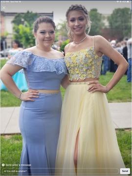 Ellie Wilde Blue Size 8 Side slit Dress on Queenly