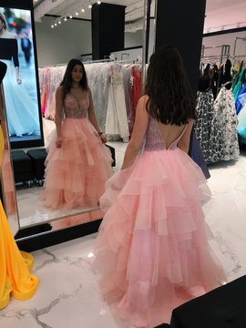 Ellie Wilde Pink Size 4 Ruffles Medium Height Ball gown on Queenly