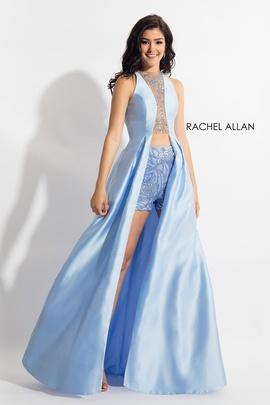 Rachel Allan Blue Size 0 Fun Fashion Overskirt Cut Out Romper/Jumpsuit Dress on Queenly