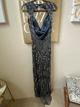 Primavera Silver Size 8 Blue Tall Height Straight Dress on Queenly
