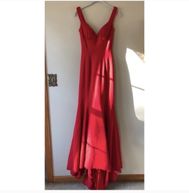 Sherri Hill Red Size 0 Prom Plunge Mermaid Dress on Queenly