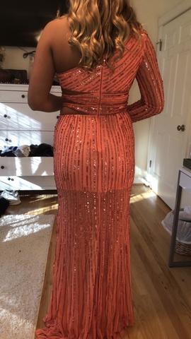 Sherri Hill Orange Size 8 Fun Fashion Cut Out Shiny Side slit Dress on Queenly