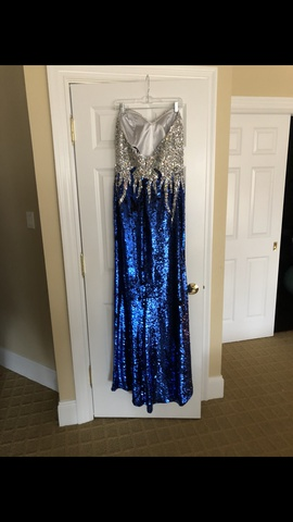 Alyce Paris Blue Size 18 Sequin Jewelled Straight Dress on Queenly